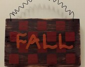 Distressed Red Checkered Fall Wood Sign