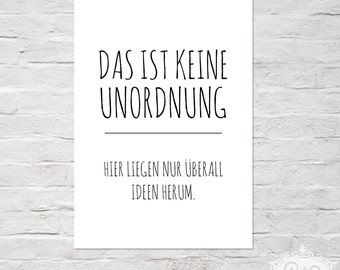 "cute as a button POSTER ""UNORDNUNG vs. IDEEN"" DinA 4 typographic print"