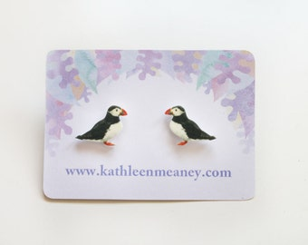 Puffin bird stud earrings
