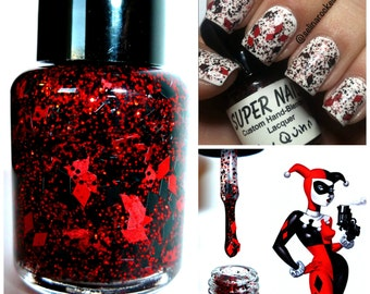 Harley Quinn ~ 15 mL full size bottle - Indie Handmade Nail Polish 5-Free Custom Blended Glitter Lacquer