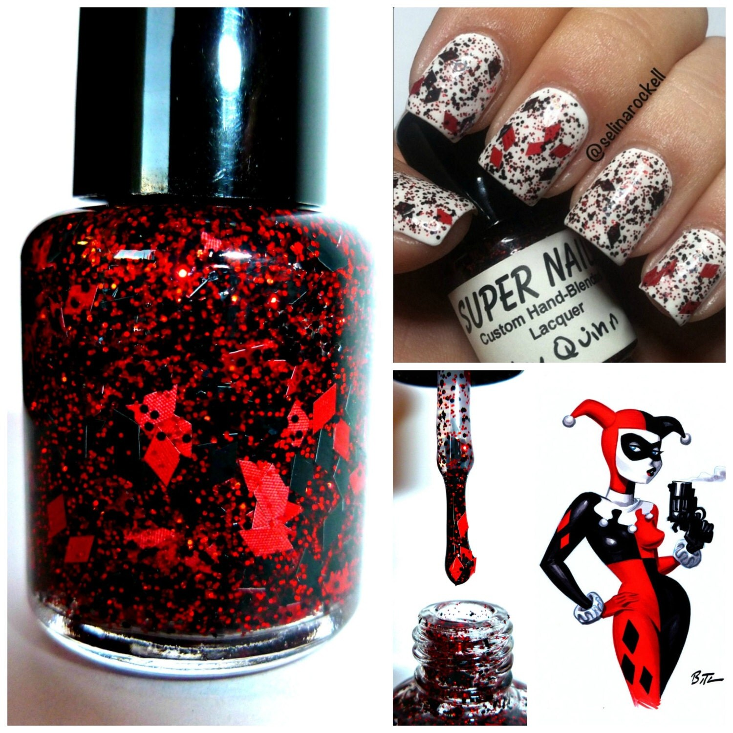 harley quinn art harley quinn wedding ring Harley Quinn 15 mL full size bottle Indie Handmade Nail Polish 5 Free Custom Blended Glitter Lacquer