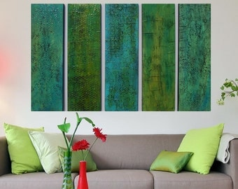 Wood Wall Sculpture  - Green Abstract Art - Turquoise Modern Wall Decor - Multi Panel Art - Large Wall Art  Large Abstract Painting