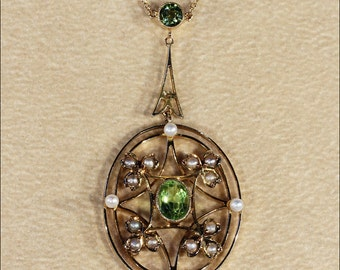 Antique Edwardian Peridot and Pearl Necklace in 9k Gold