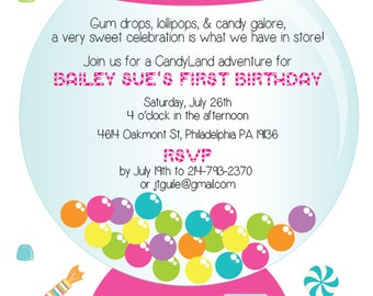CandyLand First Birthday Party Invitation- Digital Download