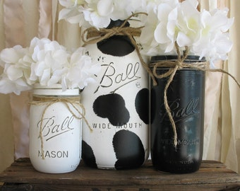 On Sale Now Set Of 3 Painted Mason Jars Rustic Country Cow