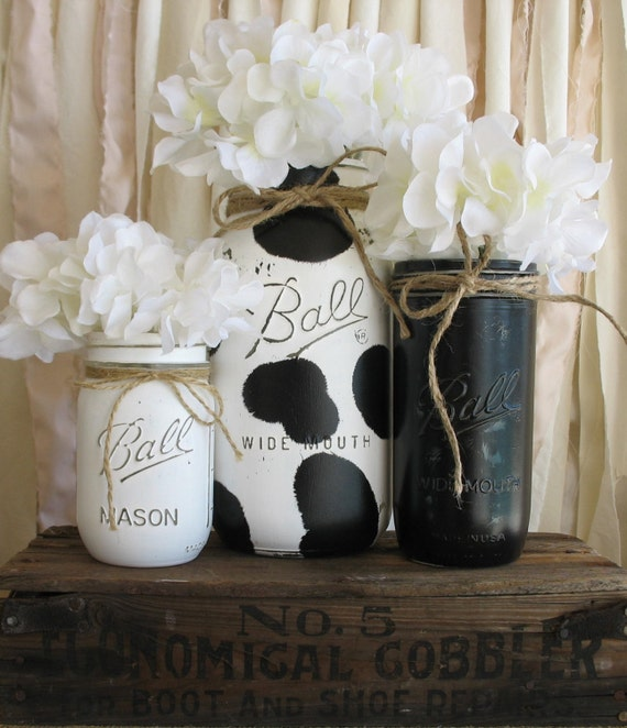 Mason Jar Kitchen: ON SALE NOW Set Of 3 Painted Mason Jars Rustic Country Cow
