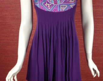 Hand embroidered Purple short dress/ top