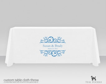 Personalized Wedding Table Cloth Throw With Free Wedding Logo Perfect for Your Bride Groom Table Or Court Of Honor Table