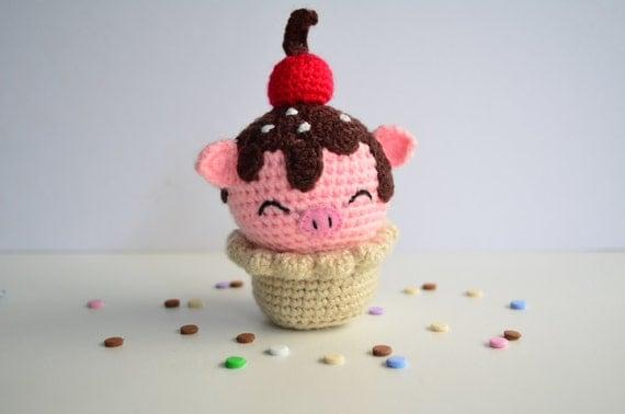 Amigurumi Cute Cupcake : Cute strawberry pig cupcake amigurumi cupcake cute cupcake