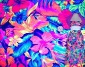 Stretch Fabric - Tahitian Floral Print Four way Stretch Fabric 1/8, 1/4, 1/2 Yard/ Meter Cut -Item# PCBTP069CR
