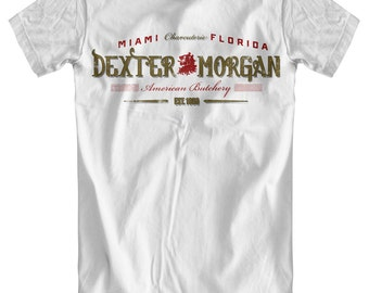 Dexter Morgan: American Butchery White T-Shirt (no blood spatter)