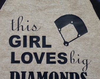 This girl loves big Diamonds!! Baseball shirt with 3/4 Sleeves!