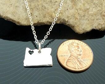 Tiny Sterling Silver Oregon Necklace / Custom Heart / Small Oregon Necklace / Love Oregon / State Necklace / Oregon Wedding