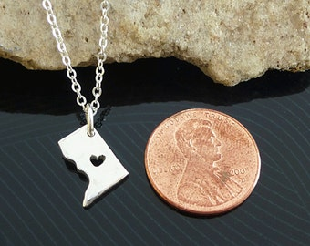 Tiny Sterling Silver Washington DC Necklace / Custom Heart / Small Washington DC Necklace / Love Washington / State Necklace