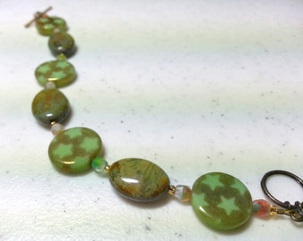 Bracelet - Green Serpentine and Star Toggle