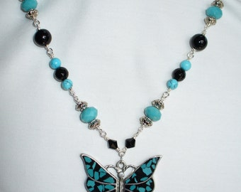 Butterfly Necklace Turquoise, Black and Silver on Vintage style Beaded Chain