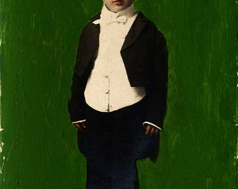 hand colored vintage photograph of a boy in tuxedo
