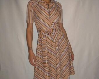 Vtg 70's INDIE stripey dress S