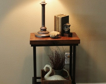 """READY TO SHIP - Metal / Industrial Side Table (28"""" High) - Rustic Reclaimed Barn Wood Top"""
