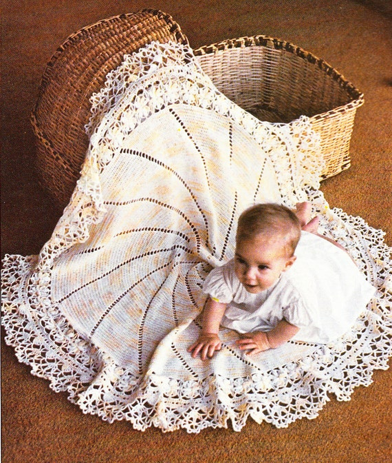 Vintage Lacy Circular BABY SHAWL Crochet Pattern PDF
