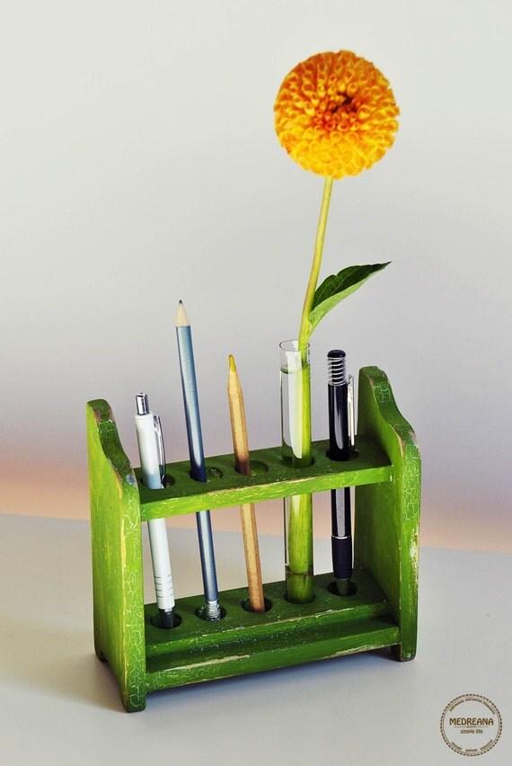 Pencil holder with flower vase upcycled by medreanadesign for Test tube flower vase rack