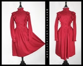 Vintage Gunne Sax Style Dress  fit flare  ruffles  maroon  Swing  victorian  retro  folk  pinup  country western  preppy  peasant $71.50 AT vintagedancer.com