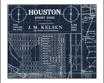 HOUSTON Map, TEXAS, Map of Houston, Houston TX, Blueprint Map, Vintage Map, Texas Blueprint Map, Map of Texas 1913