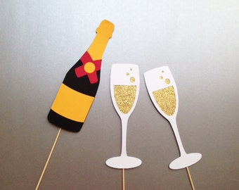Champagne Toasting Set Wedding Photobooth Prop Photobooth Props Set of 3