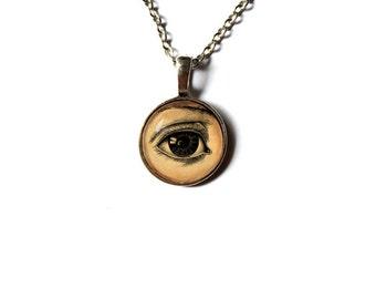 Human anatomy necklace Gothic jewelry Eye pendant  NW64