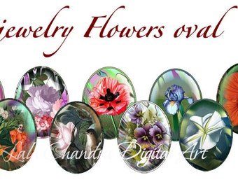 jewelry Flowers oval printable sheets  30x40 mm