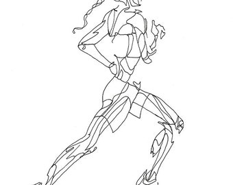 Art Print of Line Drawing: Running Girl from the Side