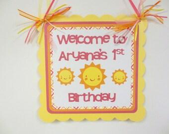 Sunshine Sun Door Welcome Sign Banner Birthday Party Shower Pink Yellow Orange