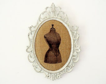 Oval Metal Frame Shabby Chic Burlap Upcycled with Vintage Mannequin.