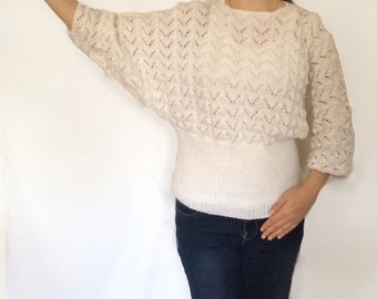 Womens Elegant Sweater, Lace-like Sweater Hand Knitted Sweater