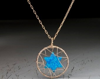 Blue Opal Jewish star necklace