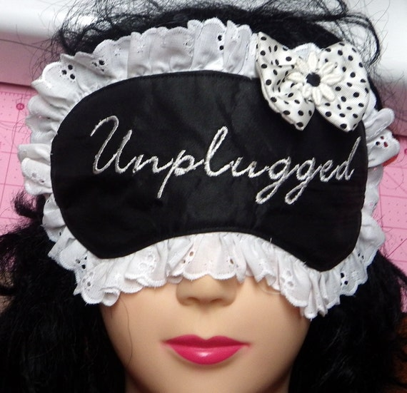 Embroidered Sleeping Mask, Black Satin Mask with Lace and Bow