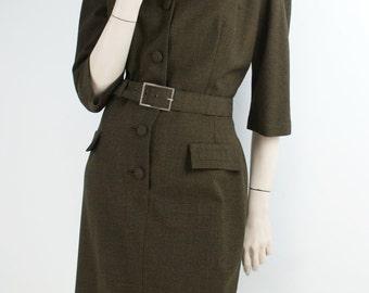 Ravishing Russell Stuart Model Green Brown Check Worsted Tweed Wriggle Shirtwaist Vintage 60s Dress UK12-14