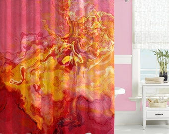 contemporary shower curtain abstract art bathroom decor red golden yellow and hot pink. Black Bedroom Furniture Sets. Home Design Ideas