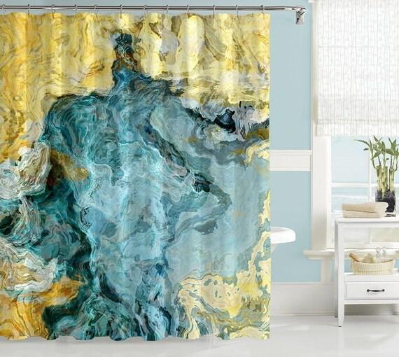 Abstract Shower Curtain Contemporary Bathroom Decor Aqua
