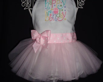 Happy Birthday Froo Froo Apron® - Pastel Embroiderd