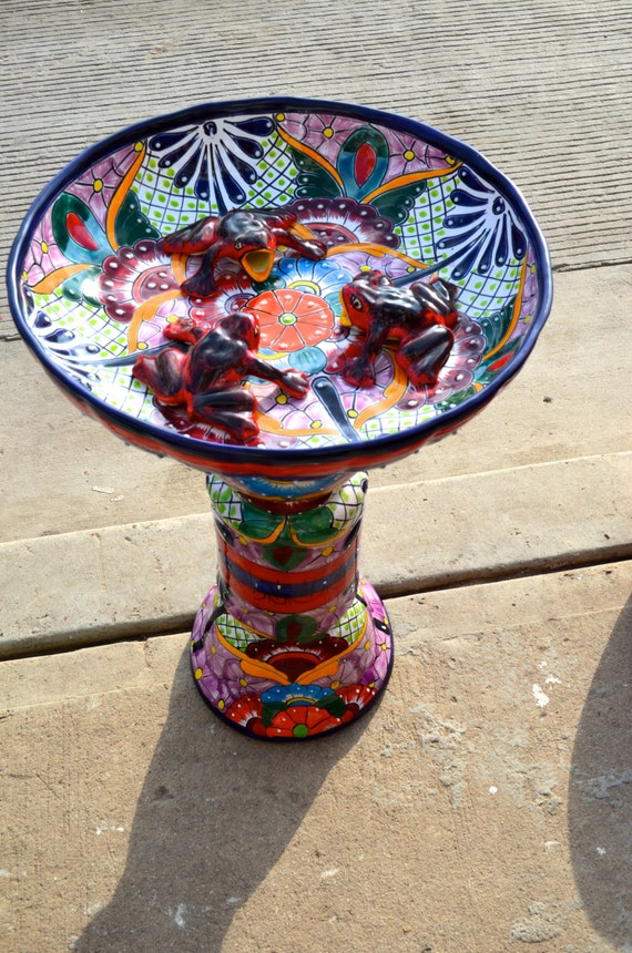 Talavera Mexican Pottery Bird Bath By Mexicantalavera On Etsy