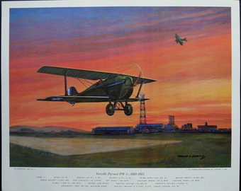 1962 Vintage airplane print. Lithograph by Charles H. Hubbell, The Peashooters, Verville Pursuit PW-1 1920-1921, biplane