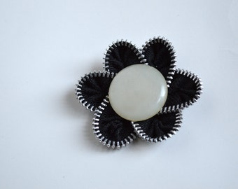 Zipper Flower with White Opaque Button Brooch