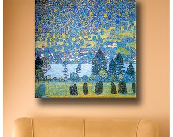 """30% OFF! Canvas Repro """"Mountainside In Unterach"""" By Gustav Klimt Giclee gallery print reproduction Art photo fine art poster decor"""