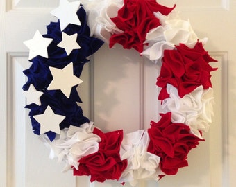 Fourth of July Wreath. Memorial Day Wreath. Red, White and Blue Wreath. Patriotic Wreath. USA Wreath. Independence Day. 4th of July Wreath.