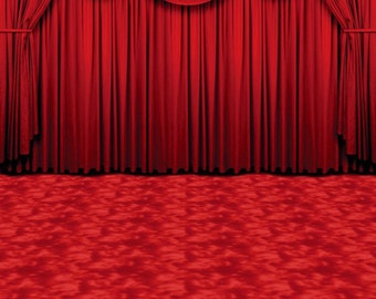 Crimson Curtains Photography Backdrop