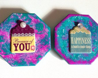 Set of 2 Magnets with Wording and Faux Gems