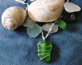 Green Wire Wrapped Sea Glass Pendant and Silver Chain