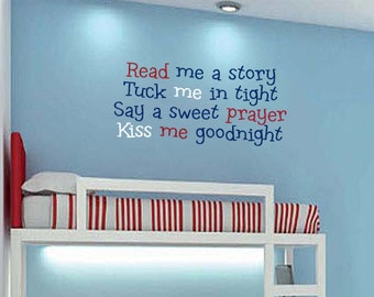 Kids Bedtime Saying Quote Wall Vinyl Decal Boys Girls