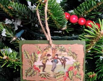 Vintage Christmas Postcard Ornament #012